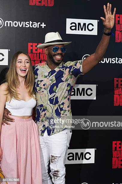 Actor Colman Domingo and actress Alycia DebnamCarey attend 'Fear the Walking Dead' photocall at FNAC Callao on July 14 2016 in Madrid Spain