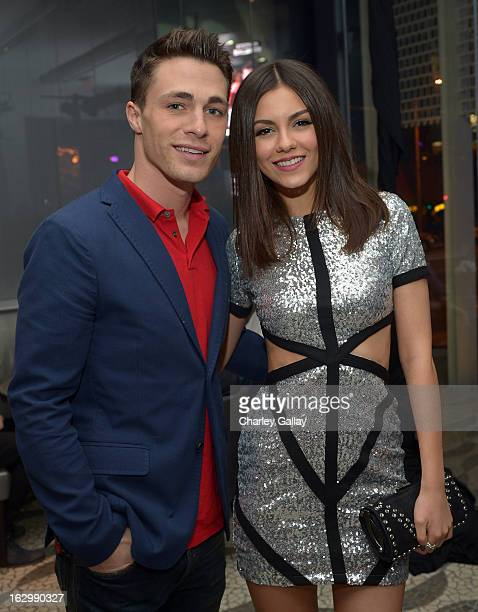 Actor Colton Haynes and actress Victoria Justice attend her 20th birthday celebration hosted by vitaminwater and TWISTER Rave at RH Bar at the Andaz...