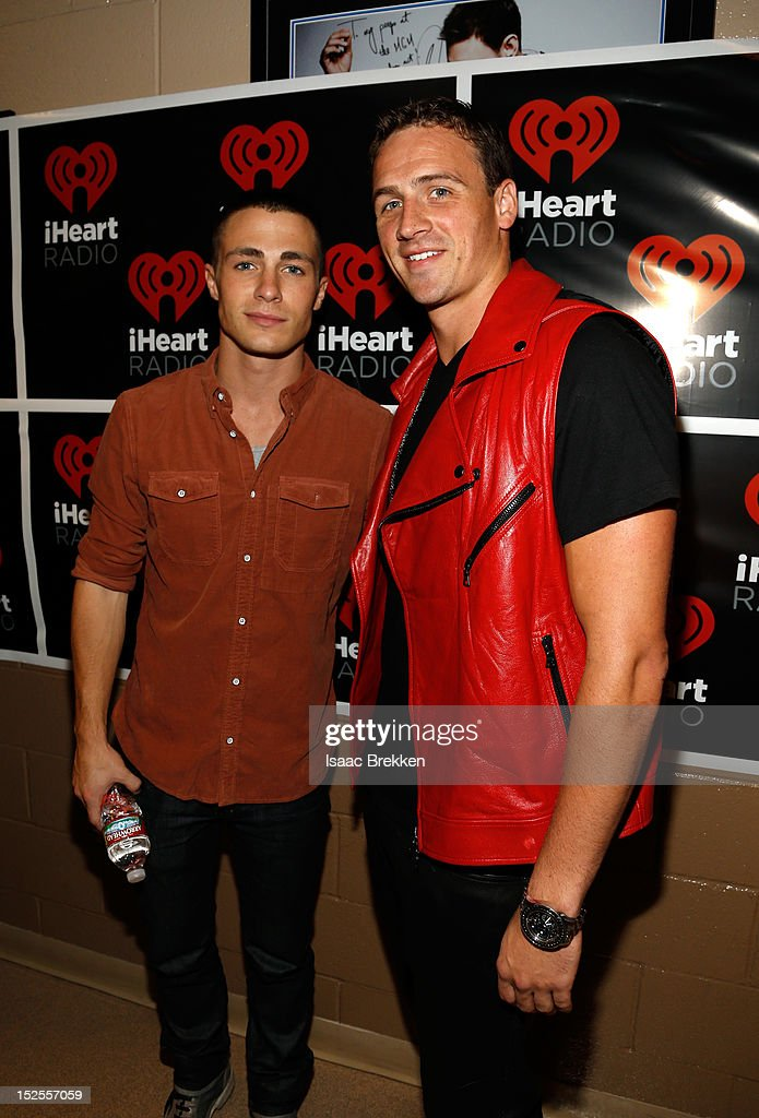 Actor Colton Haynes (L) and olympic medalist Ryan Lochte pose backstage during the 2012 iHeartRadio Music Festival at the MGM Grand Garden Arena on September 21, 2012 in Las Vegas, Nevada.
