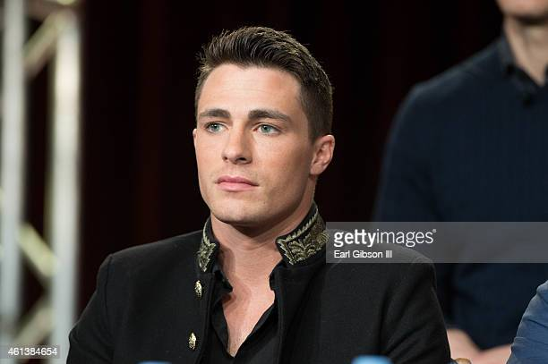 Actor Colton Haynes serves as a panelist for the 'Arrow' and 'The Flash' panel as part of The CW 2015 Winter Television Critics Association press...