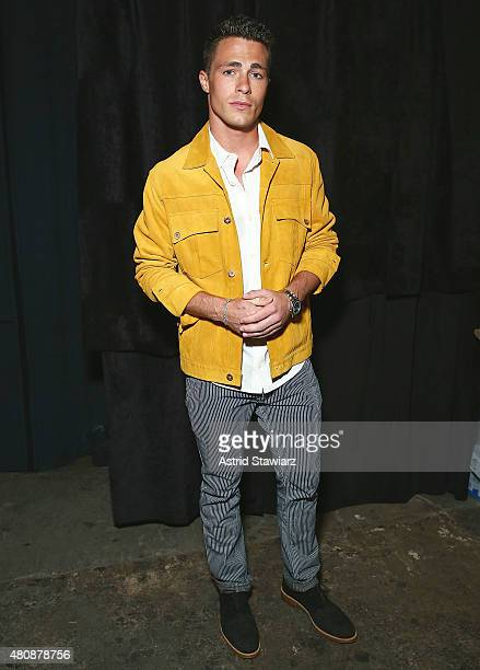 Actor Colton Haynes wearing clothing designed by Billy Reid poses backstage at Billy Reid New York Fashion Week Men's S/S 2016at Art Beam on July 15...