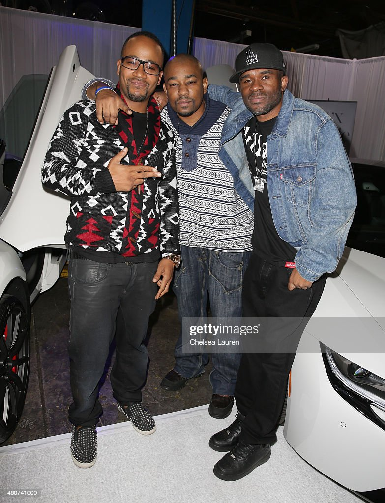 Actor Columbus Short actor Dennis LA White and CEO of The RTD Group Remi Daramola attend Roadstarr Drive at Roadstarr Motorsports on December 20 2014...