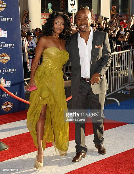 Actor Columbus Short and wife Tanee McCall attend the premiere of 'Captain America The First Avenger' at the El Capitan Theatre on July 19 2011 in...