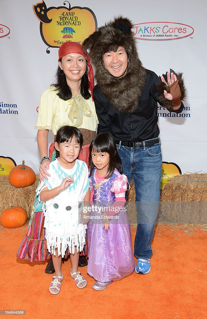 Actor, comedian and physician <a gi-track='captionPersonalityLinkClicked' href=/galleries/search?phrase=Ken+Jeong&family=editorial&specificpeople=4195975 ng-click='$event.stopPropagation()'>Ken Jeong</a> (R) and his family arrive at the Camp Ronald McDonald For Good Times 20th Annual Halloween Carnival at Universal Studios Backlot on October 21, 2012 in Universal City, California.