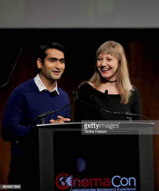 Actor comedian and writer Kumail Nanjiani and writer Emily V Gordon speak during the final day luncheon and special program 'Amazon Studios...