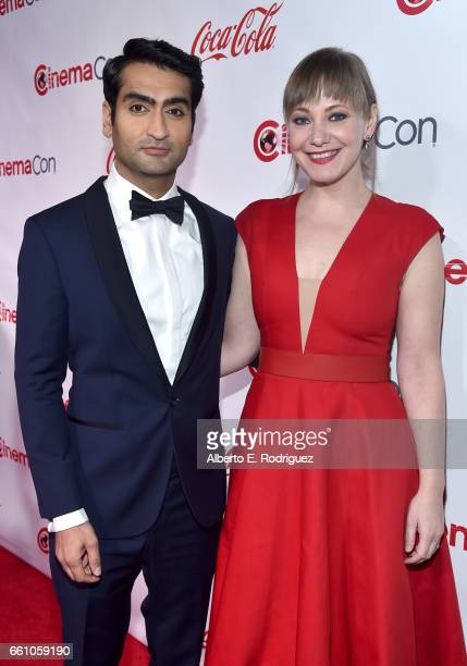 Actor comedian and writer Kumail Nanjiani recipient of the Comedy Star of the Year Award and writer Emily V Gordon attend the CinemaCon Big Screen...