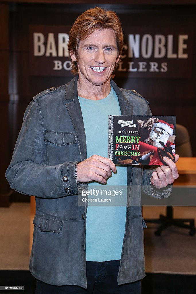 Actor / comedian <a gi-track='captionPersonalityLinkClicked' href=/galleries/search?phrase=Denis+Leary&family=editorial&specificpeople=204773 ng-click='$event.stopPropagation()'>Denis Leary</a> signs copies of his book 'Merry F***in' Christmas' at Barnes & Noble bookstore at The Grove on December 6, 2012 in Los Angeles, California.
