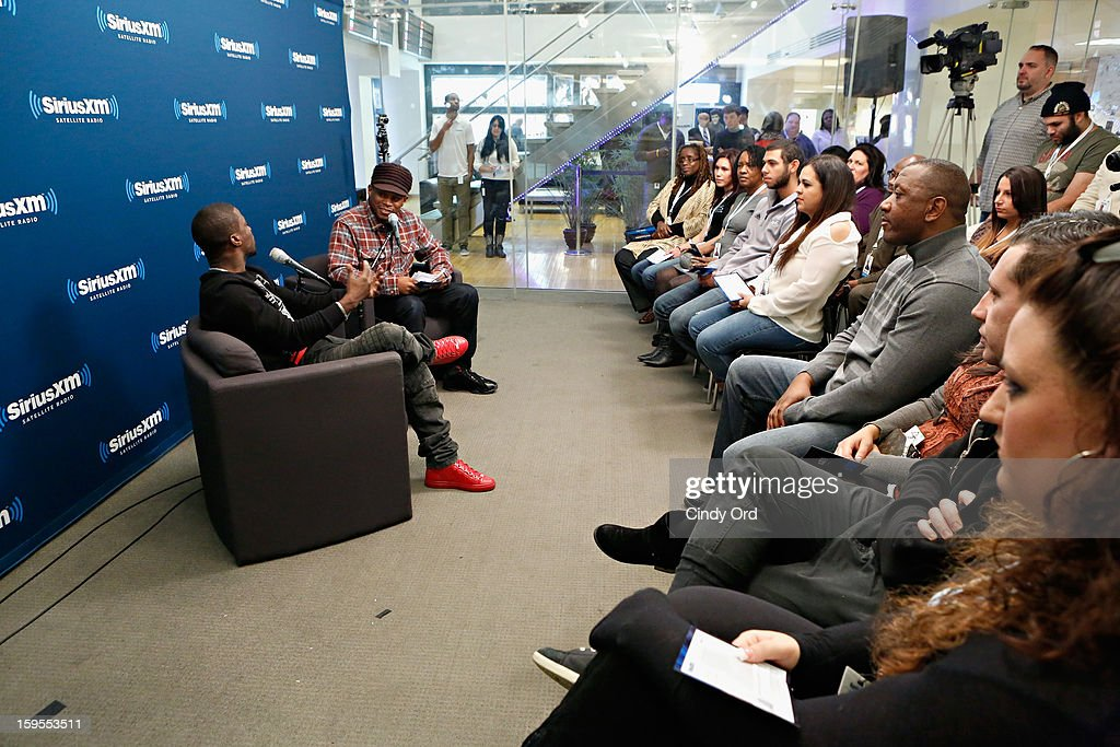 Actor/ comedian Kevin Hart is intervied by SiriusXM host Sway Calloway at 'SiriusXM's Town Hall with Kevin Hart' moderated by Sway Calloway on Raw Dog Comedy at the SiriusXM studios on January 15, 2013 in New York City.
