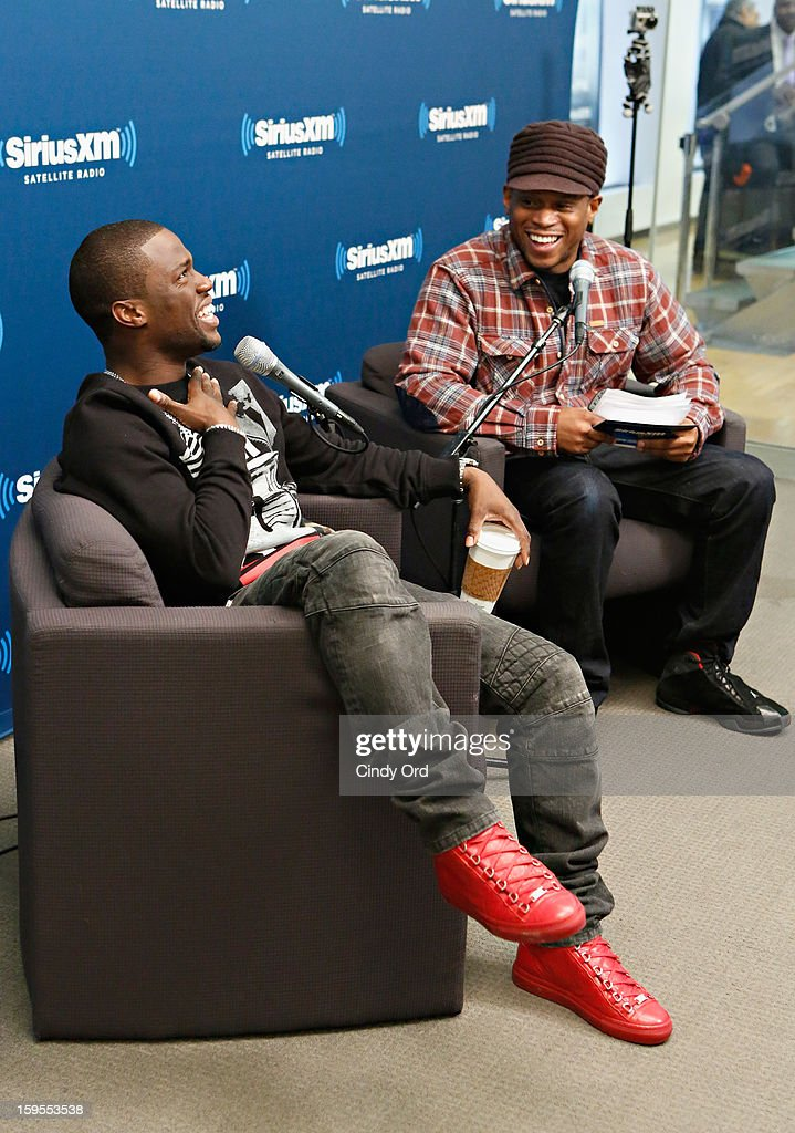 Actor/ comedian Kevin Hart is intervied by SiriusXM host <a gi-track='captionPersonalityLinkClicked' href=/galleries/search?phrase=Sway+Calloway&family=editorial&specificpeople=214641 ng-click='$event.stopPropagation()'>Sway Calloway</a> at 'SiriusXM's Town Hall with Kevin Hart' moderated by <a gi-track='captionPersonalityLinkClicked' href=/galleries/search?phrase=Sway+Calloway&family=editorial&specificpeople=214641 ng-click='$event.stopPropagation()'>Sway Calloway</a> on Raw Dog Comedy at the SiriusXM studios on January 15, 2013 in New York City.