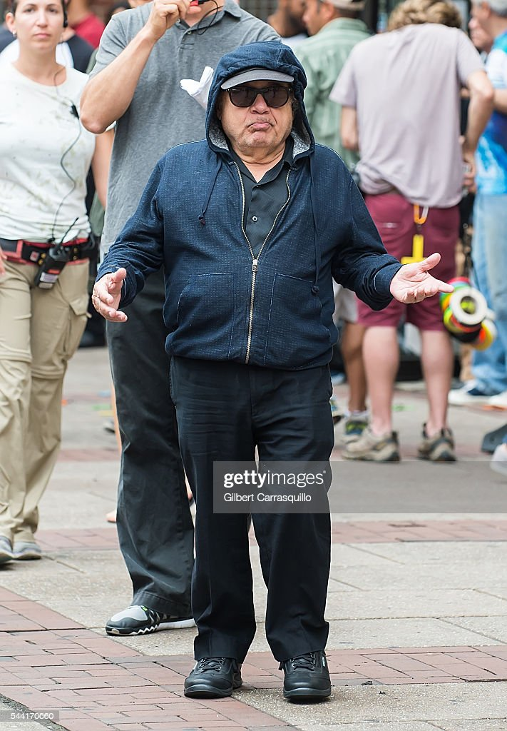 Actor, comedian, producer and director <a gi-track='captionPersonalityLinkClicked' href=/galleries/search?phrase=Danny+DeVito&family=editorial&specificpeople=210718 ng-click='$event.stopPropagation()'>Danny DeVito</a> is seen filming scenes of season 12 of 'It's Always Sunny In Philadelphia' sitcom on July 1, 2016 in Philadelphia, Pennsylvania.