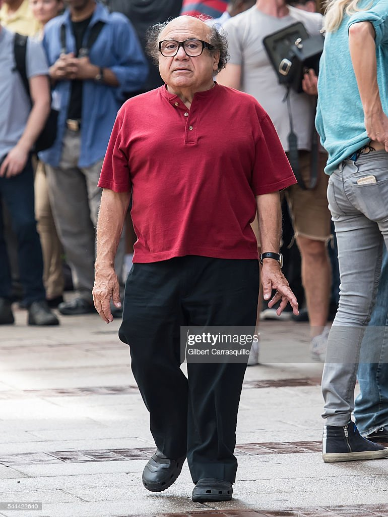 Actor comedian producer and director Danny DeVito is seen filming scenes of season 12 of 'It's Always Sunny In Philadelphia' sitcom on July 1 2016 in...