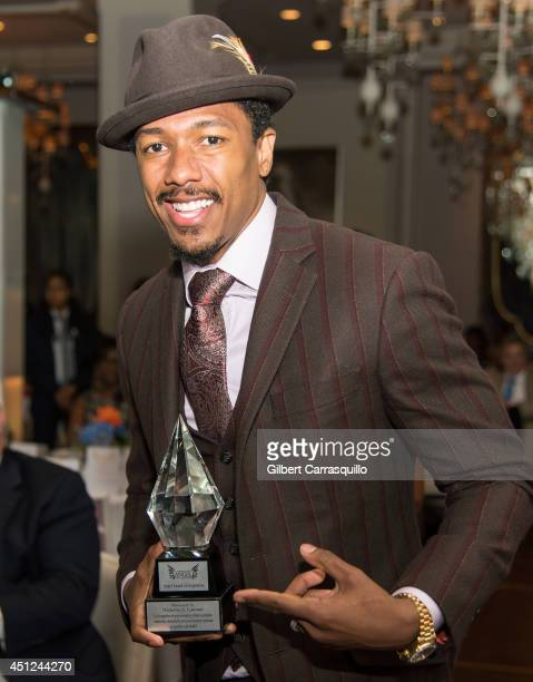 Actor comedian rapper entrepreneur record producer radio and television personality Nick Cannon receives the Angel Award of Inspiration during the...