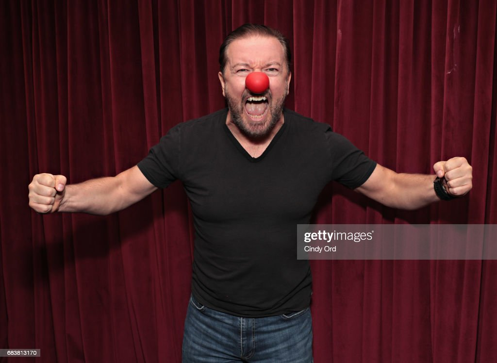 Actor/ comedian Ricky Gervais shows his support for Red Nose Day during a visit to the SiriusXM Studios on May 16, 2017 in New York City.