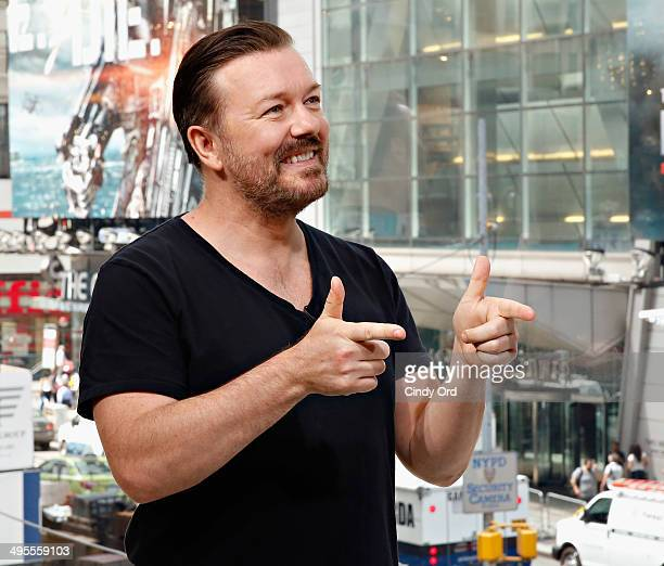 Actor/ comedian Ricky Gervais visits 'Extra' at their New York studios at HM in Times Square on June 2 2014 in New York City