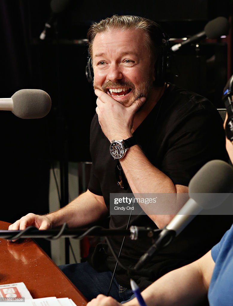 Actor/ comedian <a gi-track='captionPersonalityLinkClicked' href=/galleries/search?phrase=Ricky+Gervais&family=editorial&specificpeople=209237 ng-click='$event.stopPropagation()'>Ricky Gervais</a> visits 'The Opie & Anthony Show' at the SiriusXM Studios on April 18, 2013 in New York City.