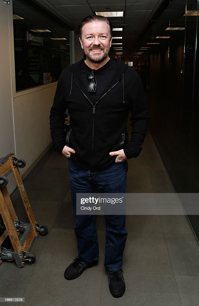 Actor/ comedian <a gi-track='captionPersonalityLinkClicked' href=/galleries/search?phrase=Ricky+Gervais&family=editorial&specificpeople=209237 ng-click='$event.stopPropagation()'>Ricky Gervais</a> visits the SiriusXM Studios on April 18, 2013 in New York City.