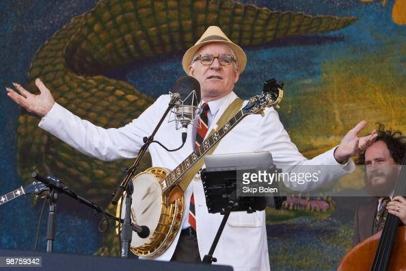 Actor comedian writer playwright producer and banjo musician Steve Martin performs with the Steep Canyon Rangers during day 4 of the 41st Annual New...