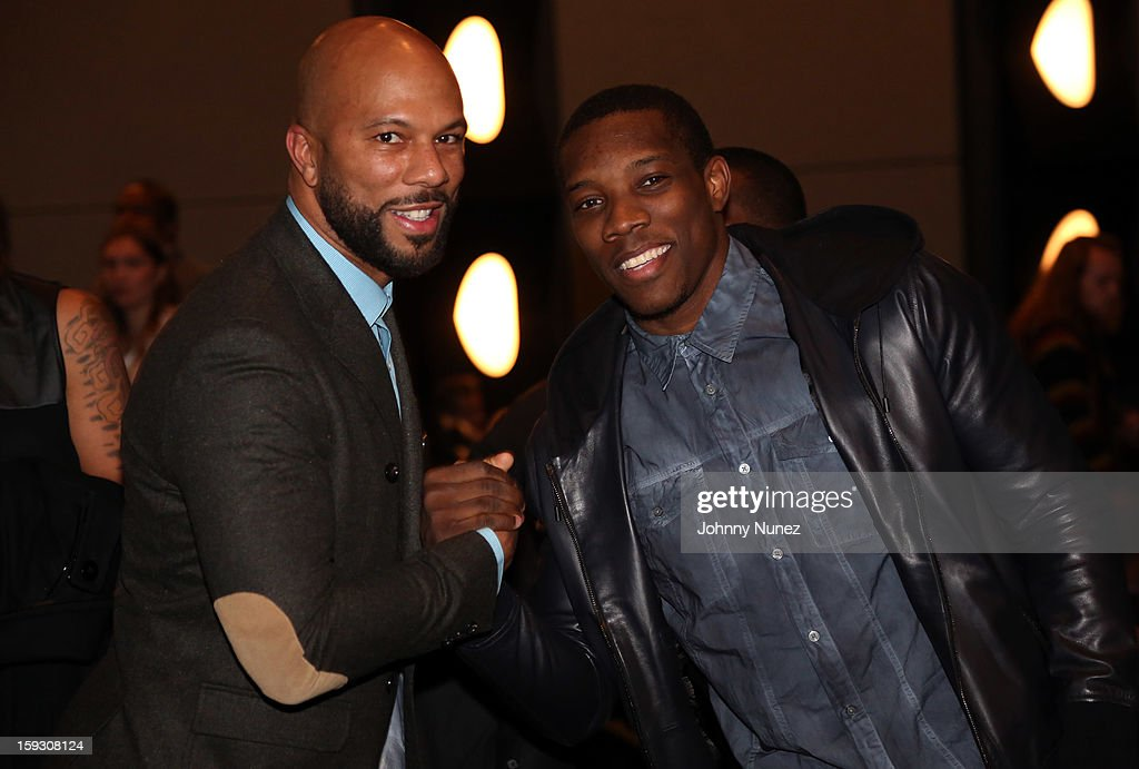 Actor Common and NBA player <a gi-track='captionPersonalityLinkClicked' href=/galleries/search?phrase=Eric+Bledsoe&family=editorial&specificpeople=6480906 ng-click='$event.stopPropagation()'>Eric Bledsoe</a> attend the Los Angeles premiere screening of 'LUV' at Pacific Design Center on January 10, 2013 in West Hollywood, California.