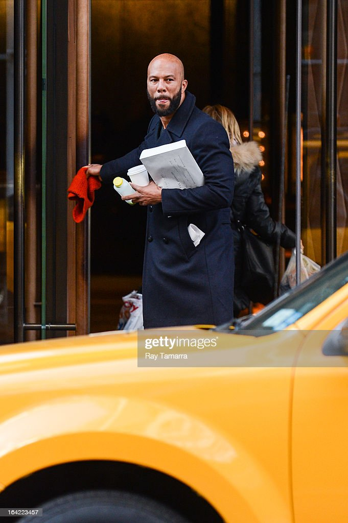 Actor Common leaves his Soho hotel on March 20, 2013 in New York City.