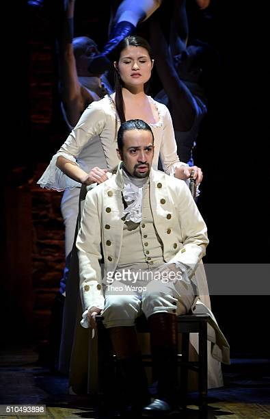 Actor composer LinManuel Miranda and actress Phillipa Soo perform on stage during 'Hamilton' GRAMMY performance for The 58th GRAMMY Awards at Richard...