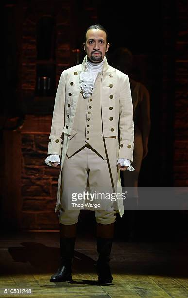 Actor composer LinManuel Miranda performs on stage during 'Hamilton' GRAMMY performance for The 58th GRAMMY Awards at Richard Rodgers Theater on...