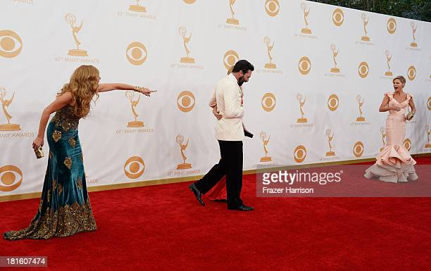 Actor Connie Britton Jon Hamm and Julie Bowen arrives at the 65th Annual Primetime Emmy Awards held at Nokia Theatre LA Live on September 22 2013 in...