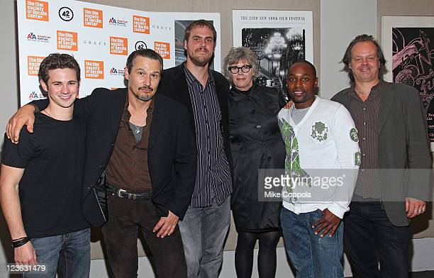 Actor Connor Paolo actor Nick Damici director Jim Mickle actress Kelly McGillis actor Sean Nelson and producer Larry Fessenden attend the 'Stake...