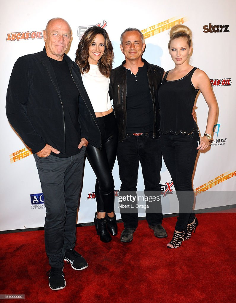Actor <a gi-track='captionPersonalityLinkClicked' href=/galleries/search?phrase=Corbin+Bernsen&family=editorial&specificpeople=211428 ng-click='$event.stopPropagation()'>Corbin Bernsen</a>, actress Tiffant Dupont, producer Ali Afshar and model Ashley Michaelsen at the Special Outdoor Screening Of 'Born To Race: Fast Track' held at Pep Boys on August 22, 2014 in Hollywood, California.