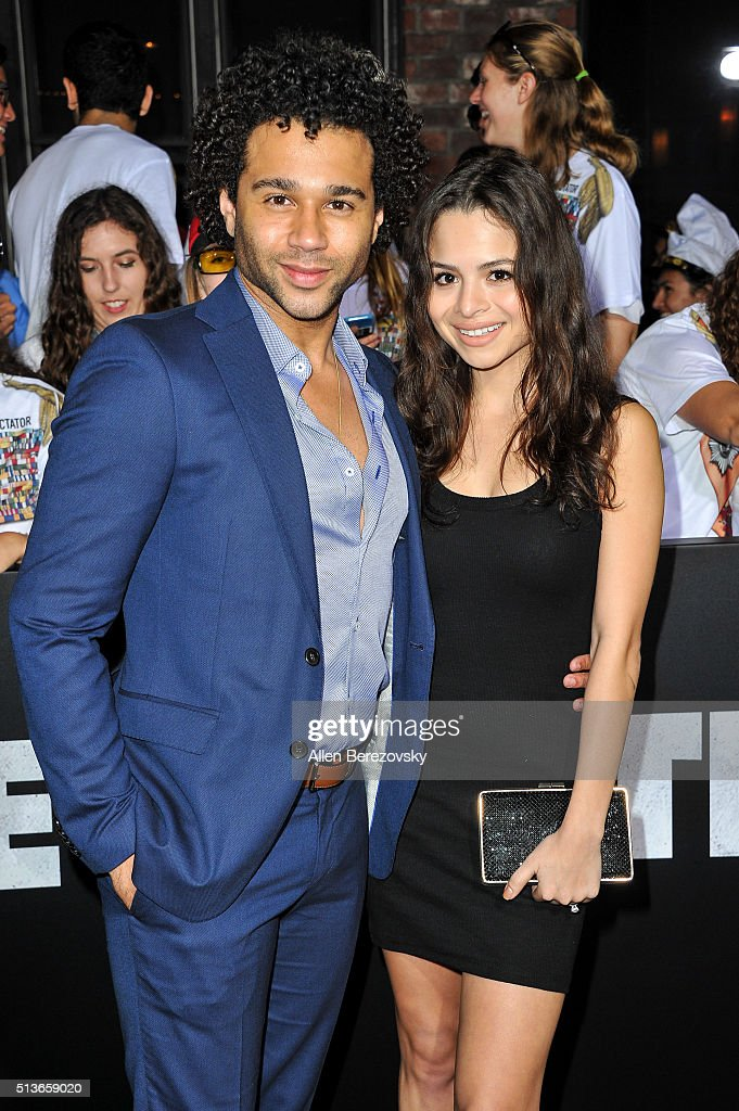 Actor Corbin Bleu and fiance Sasha Clements attend the Los Angeles Premiere of Columbia Pictures and Village Roadshow Pictures 'The Brothers Grimsby'...