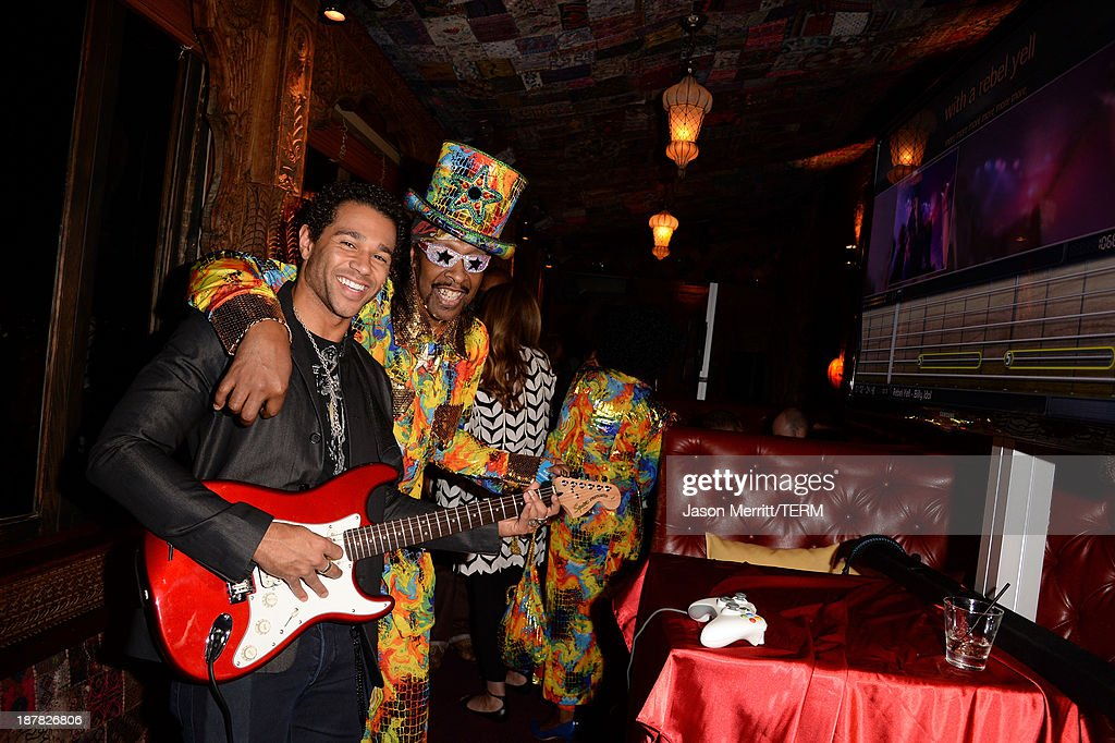 Actor Corbin Bleu and musician Bootsy Collins attend the BandFuse Rock Legends video game launch event at House of Blues Sunset Strip on November 12...