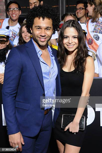 Actor Corbin Bleu and Sasha Clements attend premiere of Columbia Pictures and Village Roadshow Pictures 'The Brothers Grimsby' at Regency Village...