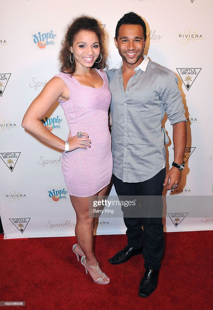 Actor Corbin Bleu (R) and sister Hunter Reivers arrive at Blake Michael's 18th Birthday on Riviera 31 on August 9, 2014 in Beverly Hills, California.