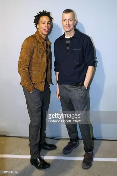 Actor Corentin Fila and Stylist of 'Lanvin Men' Lucas Ossendrijver attend the Lanvin Menswear Fall/Winter 20172018 show as part of Paris Fashion Week...