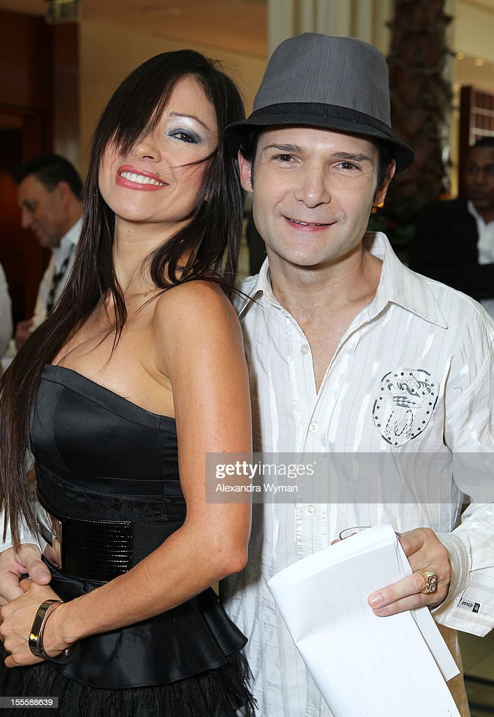 Actor Corey Feldman (R) and Excelina Ordonez attend American Film Market - Day 6 at the Loews Santa Monica Beach Hotel on November 5, 2012 in Santa Monica, California.