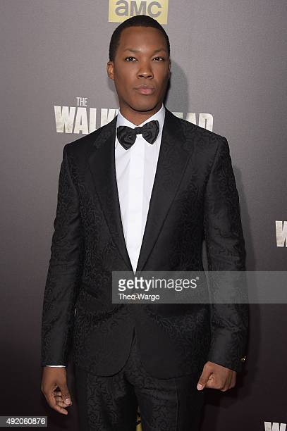 Actor Corey Hawkins attends the season six premiere of 'The Walking Dead' at Madison Square Garden on October 9 2015 in New York City
