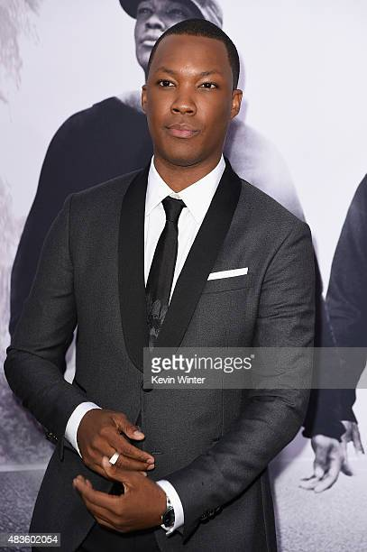 Actor Corey Hawkins attends the Universal Pictures and Legendary Pictures' premiere of 'Straight Outta Compton' at Microsoft Theater on August 10...