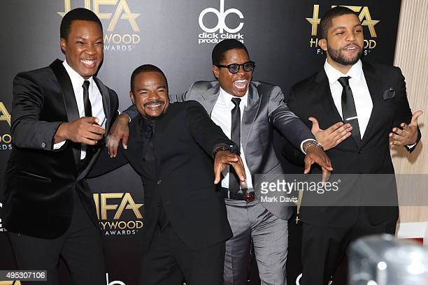 Actor Corey Hawkins Director F Gary Gray actors Jason Mitchell and O'Shea Jackson Jr attend the 19th Annual Hollywood Film Awards at The Beverly...