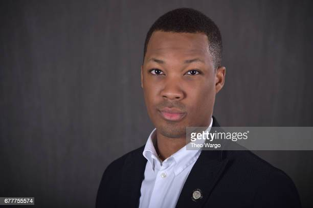 Actor Corey Hawkins poses at the 2017 Tony Awards Meet The Nominees press junket portrait studio at Sofitel New York on May 3 2017 in New York City