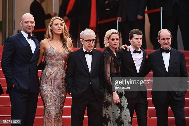 Actor Corey Stoll actress Blake Lively director Woody Allen actress Kristen Stewar' actor Jesse Eisenberg and Pierre Lescure attend the 'Cafe...