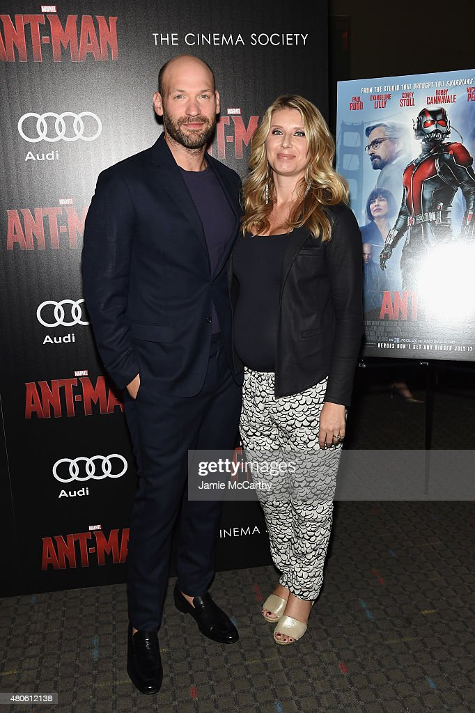 Actor Corey Stoll (L) and Nadia Bowers attend Marvel's screening of 'Ant-Man' hosted by The Cinema Society and Audi at SVA Theater on July 13, 2015 in New York City.