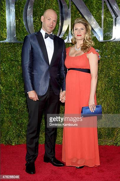 Actor Corey Stoll and Nadia Bowers attend the 2015 Tony Awards at Radio City Music Hall on June 7 2015 in New York City