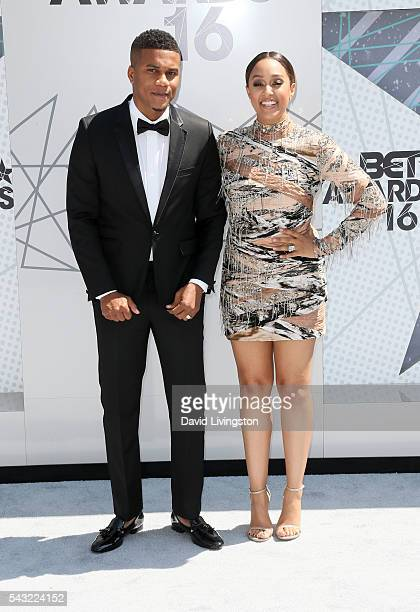 Actor Cory Hardrict and actress Tia Mowry attend the 2016 BET Awards at Microsoft Theater on June 26 2016 in Los Angeles California