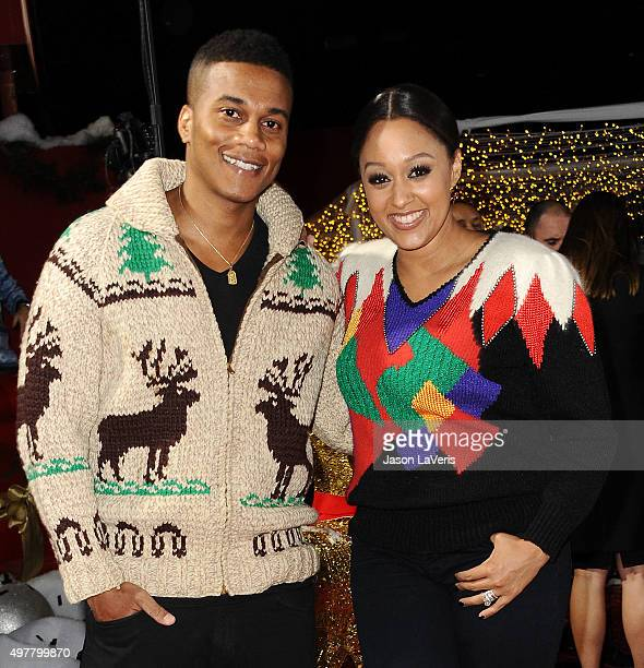 Actor Cory Hardrict and actress Tia Mowry attend the premiere of 'The Night Before' at The Theatre At The Ace Hotel on November 18 2015 in Los...