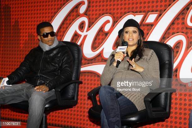 Actor Cory Hardrict and his wife actress Tia Mowry are interviewed in the WGCIFM 'CocaCola Lounge' in Chicago Illinois on MAR 11 2011