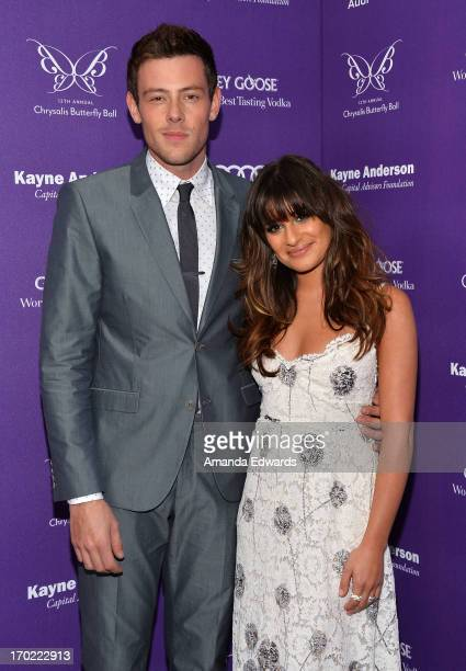 Actor Cory Monteith and actress Lea Michele arrive at the 12th Annual Chrysalis Butterfly Ball on June 8 2013 in Los Angeles California