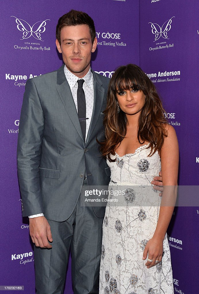 Actor Cory Monteith (L) and actress Lea Michele arrive at the 12th Annual Chrysalis Butterfly Ball on June 8, 2013 in Los Angeles, California.