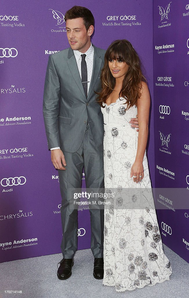 Actor Cory Monteith (L) and actress Lea Michele attend the 12th Annual Chrysalis Butterfly Ball on June 8, 2013 in Los Angeles, California.