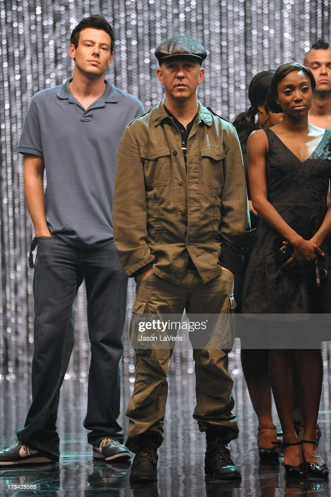 Actor Cory Monteith and producer Ryan Murphy attend the 'GLEE' 300th musical performance special taping at Paramount Studios on October 26 2011 in...