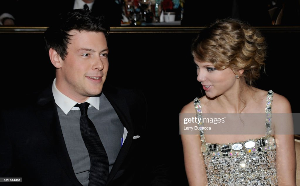 Actor Cory Monteith and singer Taylor Swift during the 52nd Annual GRAMMY Awards Salute To Icons Honoring Doug Morris held at The Beverly Hilton...