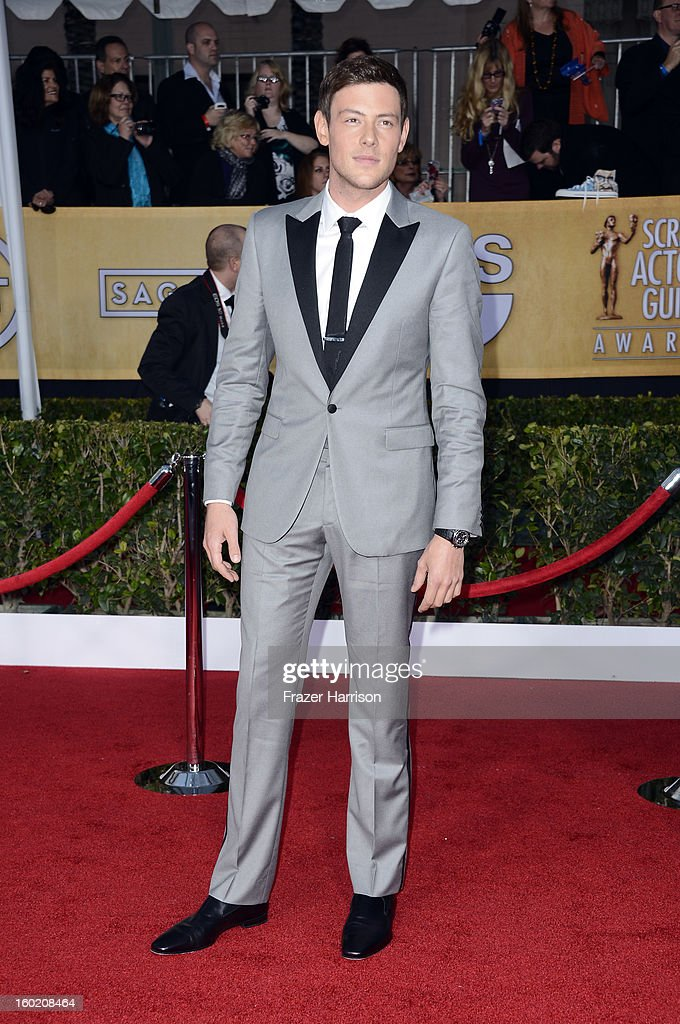 Actor Cory Monteith arrives at the 19th Annual Screen Actors Guild Awards held at The Shrine Auditorium on January 27, 2013 in Los Angeles, California.